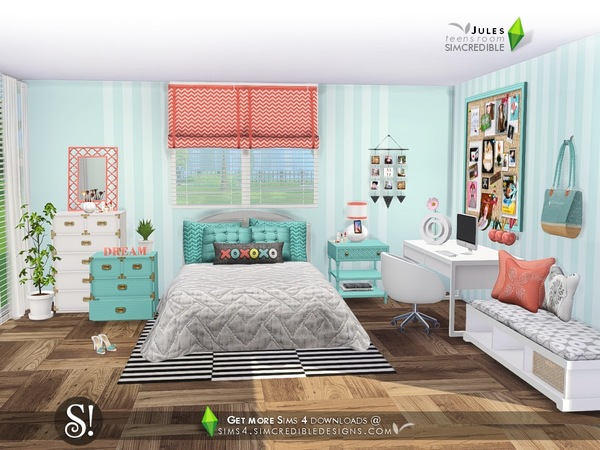 Jules bedroom by simcredible at tsr sims 4 updates for Room decor sims 4
