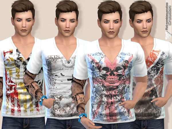 Sims 4 Broken Edges Tee Collection by Pinkzombiecupcakes at TSR