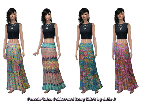 Sims 4 Boho Pattern Long Skirts at Julietoon – Julie J