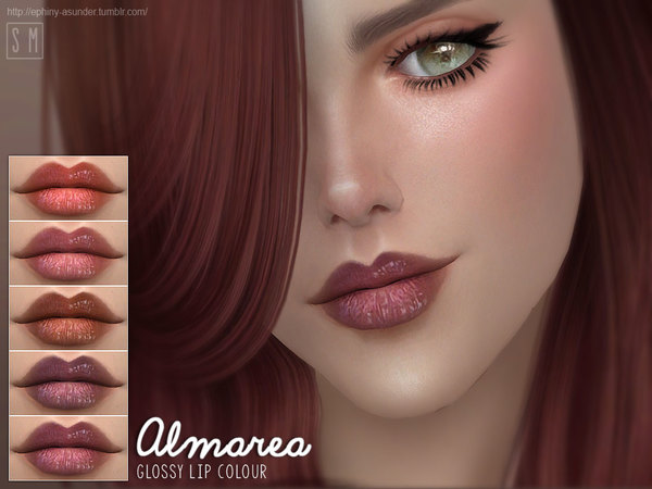 Sims 4 Almarea Glossy Lip Colour by Screaming Mustard at TSR
