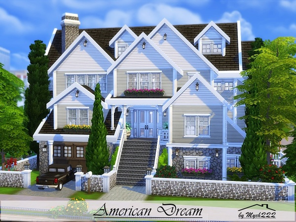 american dream suburban family home by mychqqq at tsr sims 4 updates. Black Bedroom Furniture Sets. Home Design Ideas