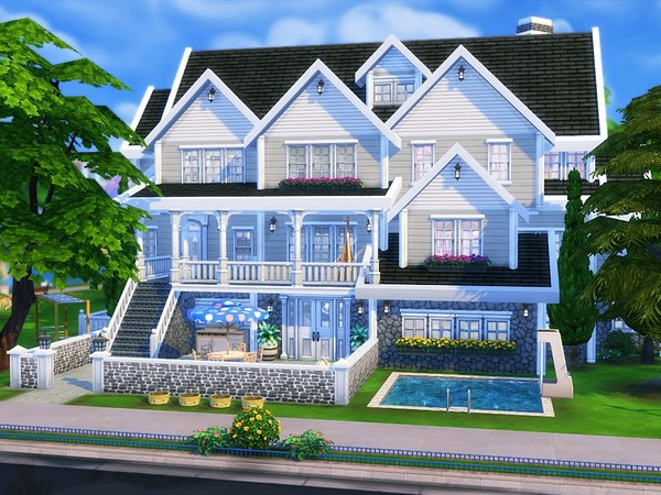 Sims 4 American Dream suburban family home by MychQQQ at TSR