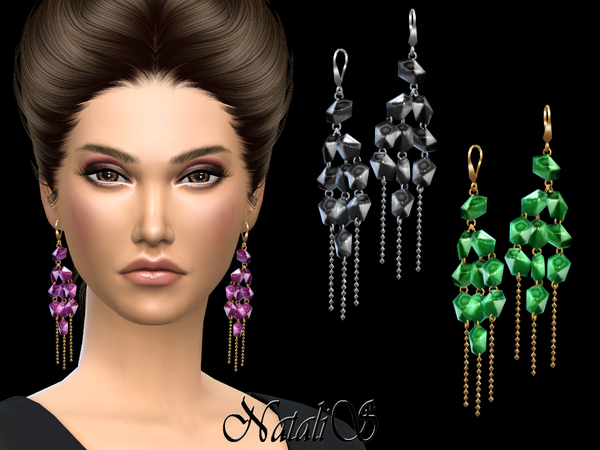 Sims 4 Linear stone drop earrings by NataliS at TSR