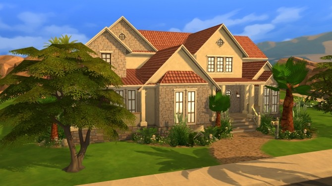Sims 4 Sandstone house by PolarBearSims at Mod The Sims