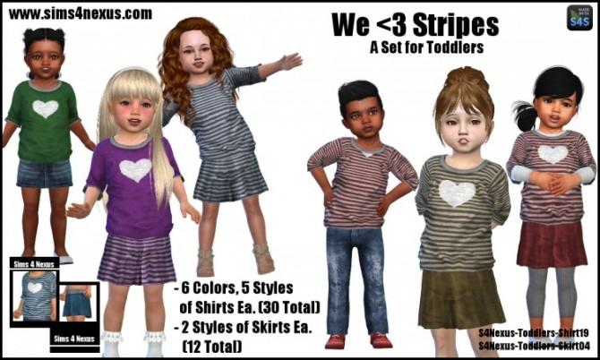 Sims 4 Stripes shirts and skirts by SamanthaGump at Sims 4 Nexus
