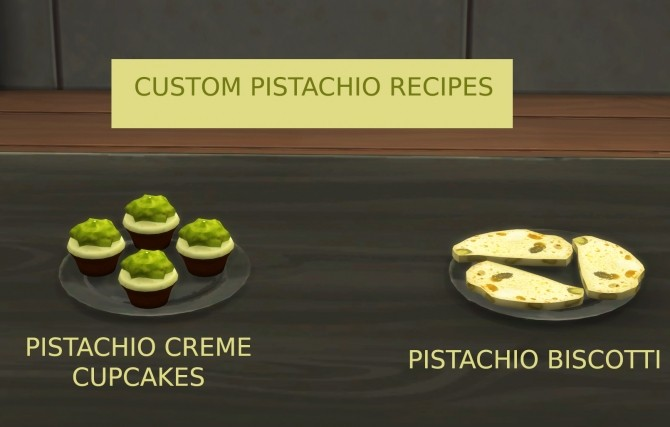 Sims 4 Pistachio Desserts Biscotti and Cupcake by icemunmun at Mod The Sims
