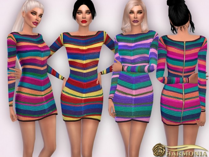 Crochet Effect Knitted Mini Dress by Harmonia at TSR image 8314 670x503 Sims 4 Updates