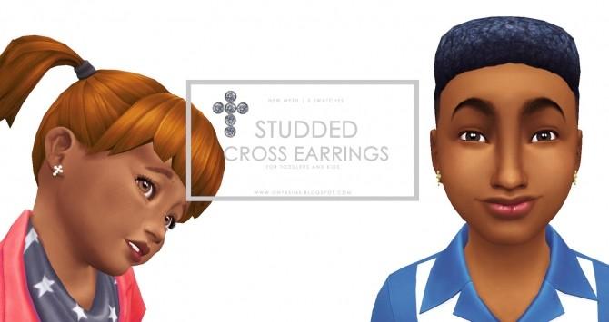 Sims 4 Diamond Studded Cross Earrings at Onyx Sims