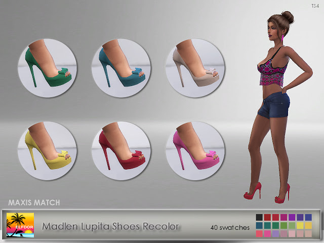 Sims 4 Madlen Lupita Shoes Recolor Maxis Match at Elfdor Sims