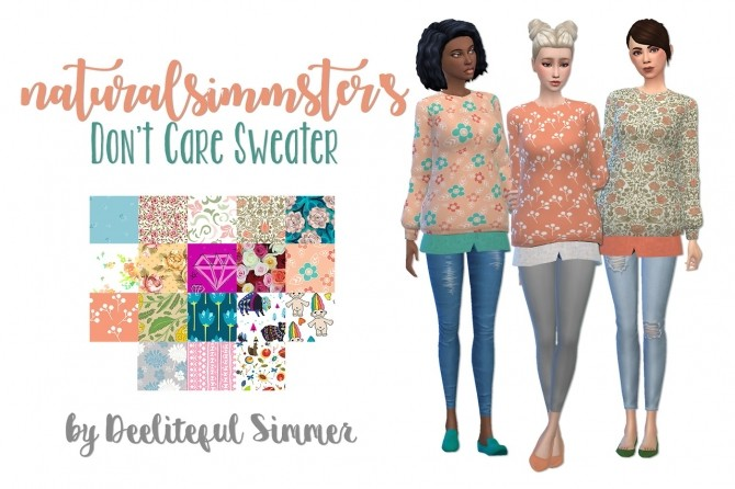 Naturalsimmsters Dont care sweater recolors at Deeliteful Simmer image 8911 670x446 Sims 4 Updates