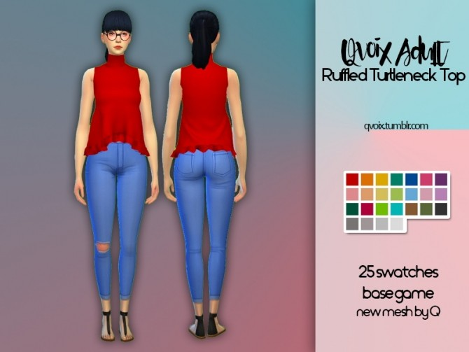 Ruffled Turtleneck Top at qvoix – escaping reality image 9011 670x503 Sims 4 Updates