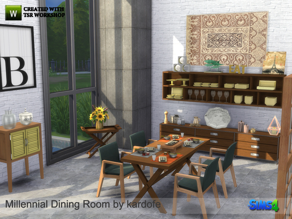 Millennial dining room by kardofe at tsr sims 4 updates for Sims 3 dining room ideas