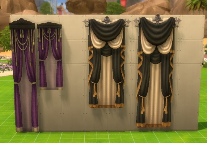 Vampire Game Pack Curtains for All Wall Sizes by DollFaceSim at SimsWorkshop