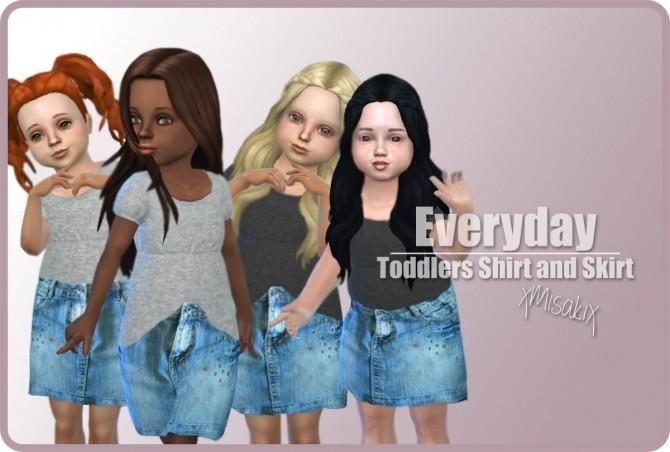 Sims 4 Toddlers Skirts and Shirts at xMisakix Sims