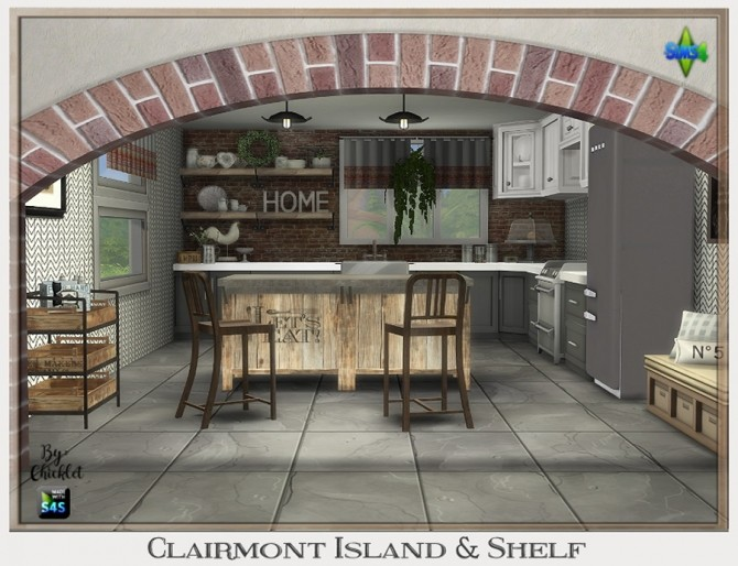 Clairmont Kitchen Island & Shelf at Chicklet's Nest image 9411 670x514 Sims 4 Updates