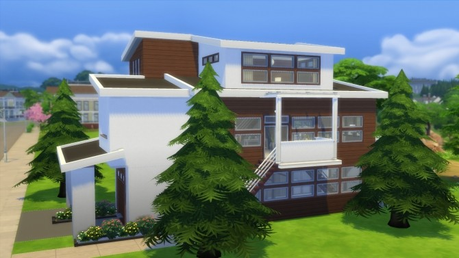 Sims 4 Modern Timber house by RayanStar at Mod The Sims