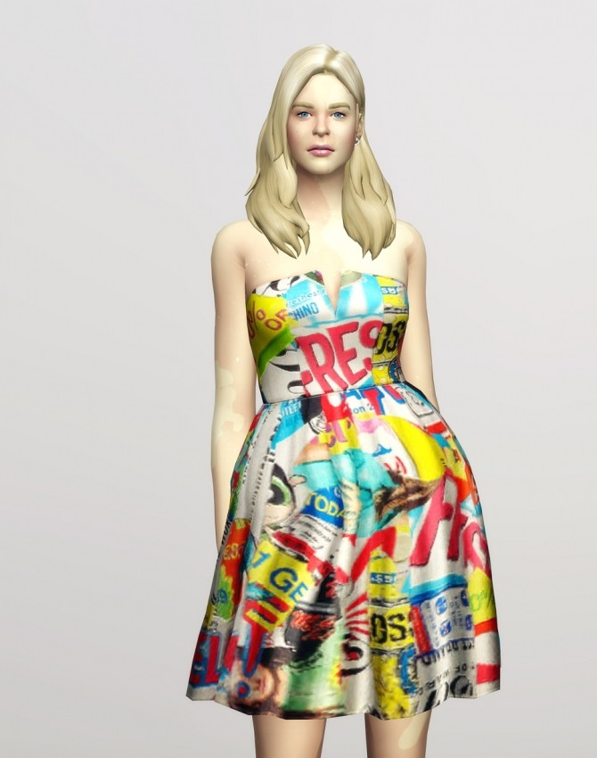 Sims 4 Strapless printed cotton blend faille dress at Rusty Nail