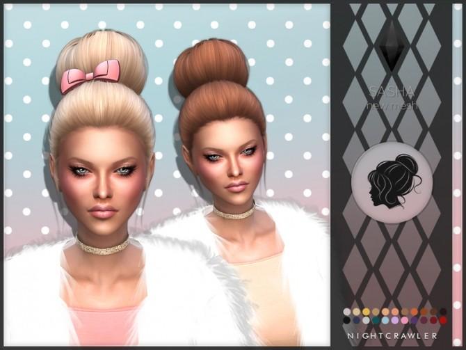 Sims 4 Nightcrawler`s Sasha hair set at    select a Sites
