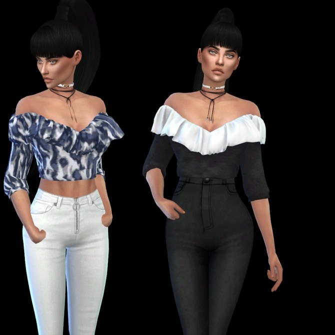Sims 4 Elle Ruffle Top at Leo Sims