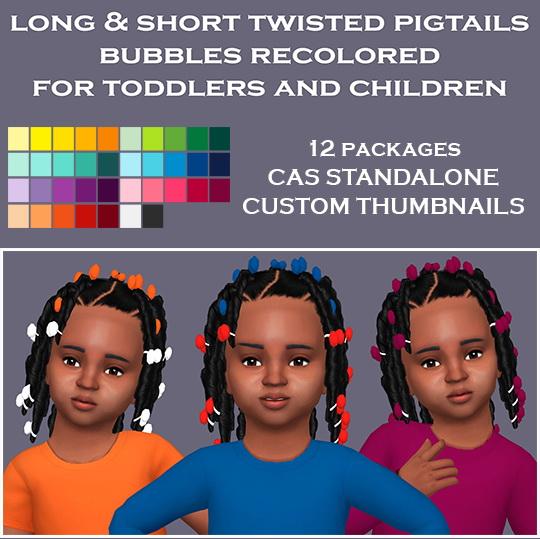 Sims 4 Twisted Pigtails Bubbles Recolor by Sympxls at SimsWorkshop