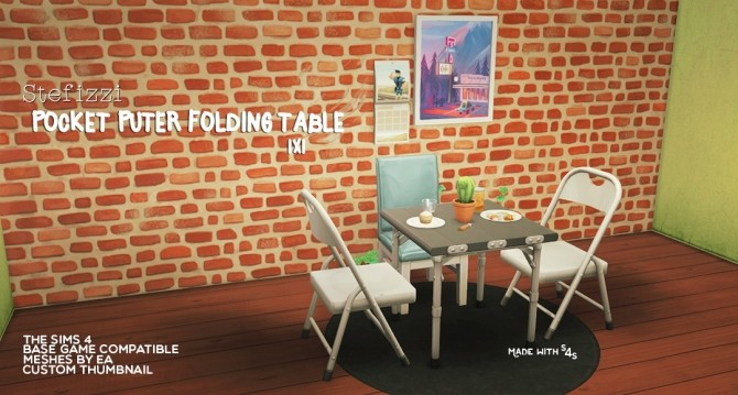 Sims 4 POCKET PUTER FOLDING TABLE 1x1 at Stefizzi