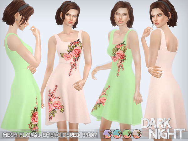 Sims 4 Mesh Floral Embroidered Prom by DarkNighTt at TSR
