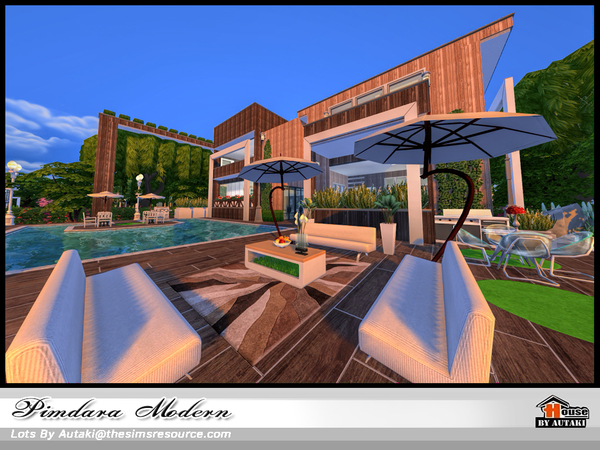 Sims 4 Pimdara Modern house by autaki at TSR