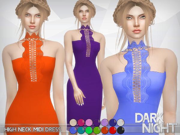 Sims 4 High Neck Midi Dress by DarkNighTt at TSR