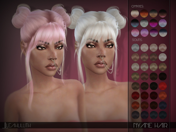 Sims 4 Nyane Hair by Leah Lillith at TSR