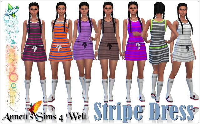 Sims 4 Stripe Dress at Annett's Sims 4 Welt