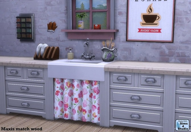 Single pipe sink with curtain by OM at Sims 4 Studio image 12212 670x464 Sims 4 Updates