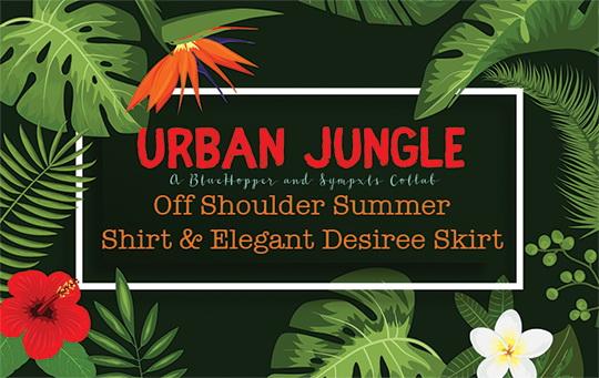 Sims 4 Urban Jungle Off Shoulder Summer Shirt & Elegant Desiree Skirt Recolor by Sympxls at SimsWorkshop