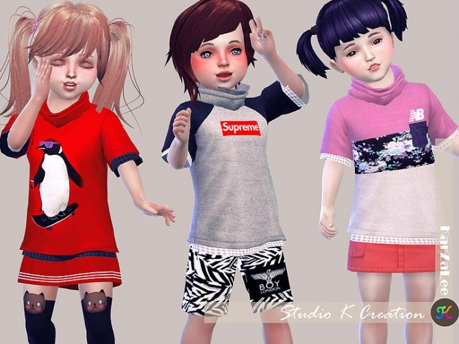 Giruto 26 High neck tee toddler at Studio K Creation image 1256 670x502 Sims 4 Updates