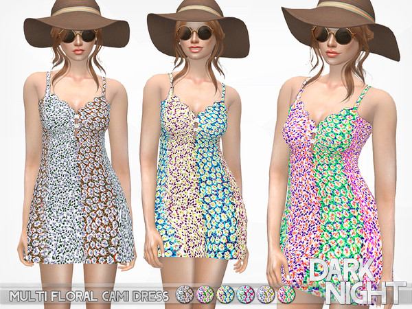 Multi Floral Cami Dress by DarkNighTt at TSR image 1326 Sims 4 Updates