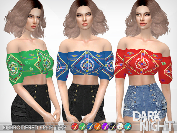 Sims 4 Embroidered Crop Top by DarkNighTt at TSR