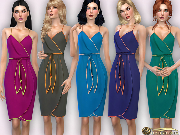 Sims 4 Colored Trims Wrap Dress by Harmonia at TSR