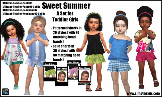 Sims 4 Sweet Summer pants and headband by SamanthaGump at Sims 4 Nexus