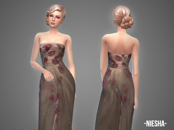 Sims 4 Niesha gown by April at TSR