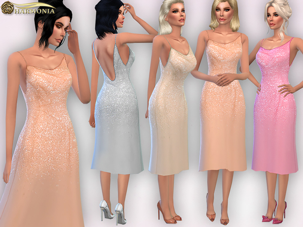 Sequin Drenched Evening Dress by Harmonia at TSR image 1528 Sims 4 Updates