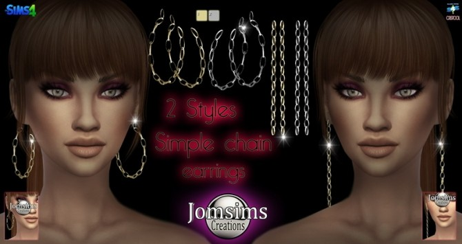 Sims 4 Simple chain earrings at Jomsims Creations