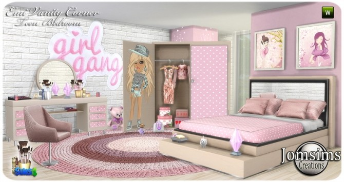 Emi vanity corner bedroom at Jomsims Creations image 1608 670x355 Sims 4 Updates