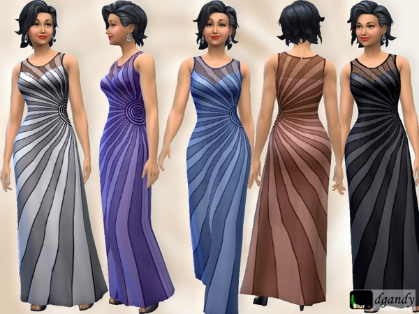Sims 4 Chiffon Starburst Dress by dgandy at TSR