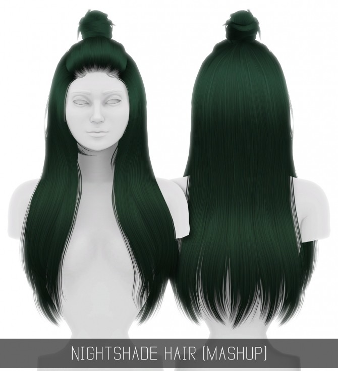 Sims 4 NIGHTSHADE HAIR (MASHUP) at Simpliciaty