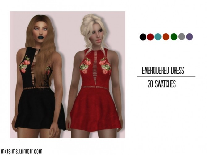 Sims 4 Embroidered Dress at MXFSims