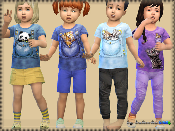 Animals in Pockets t shirt for kids by bukovka at TSR image 1820 Sims 4 Updates