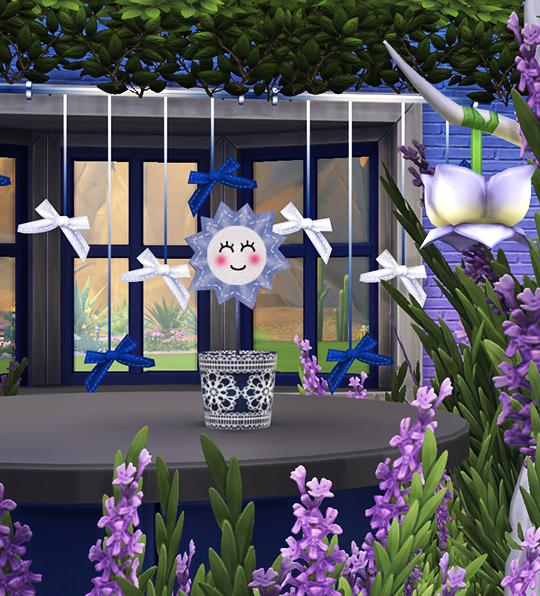Sims 4 Curtains with bows & Sun plant at Soloriya