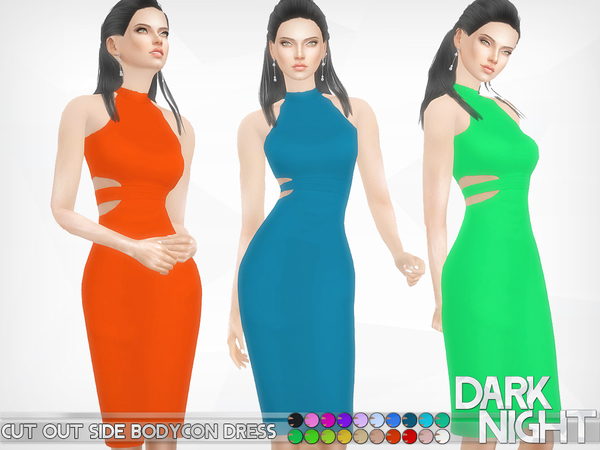 Cut Out Side Bodycon Dress by DarkNighTt at TSR image 1917 Sims 4 Updates