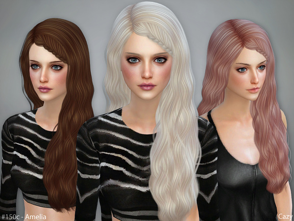 Sims 4 Amelia Hair Set Braided by Cazy at TSR