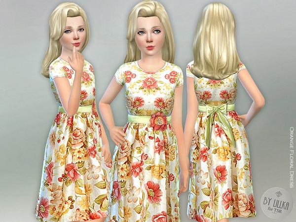 Sims 4 Orange Floral Dress by lillka at TSR