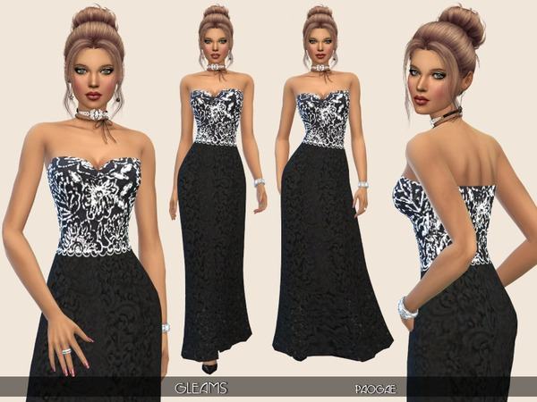 Gleams long dress by Paogae at TSR image 2103 Sims 4 Updates